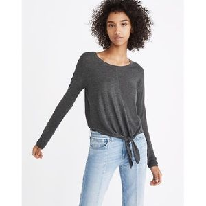 Madewell Gray Modern Tie-Front Sweater
